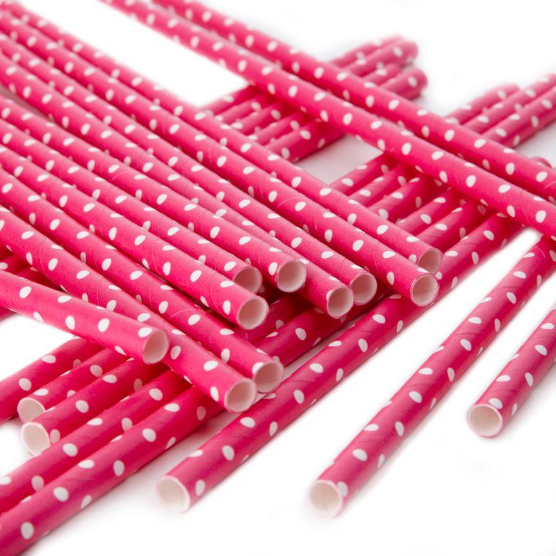 Strohhalme pink weiss gepunktet