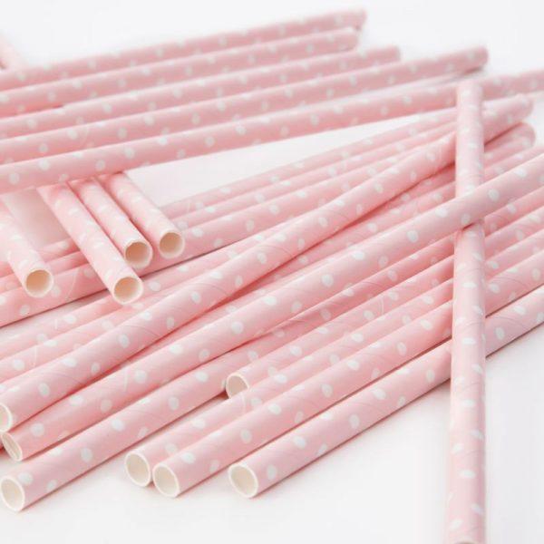 Strohhalme rosa weiss gepunktet