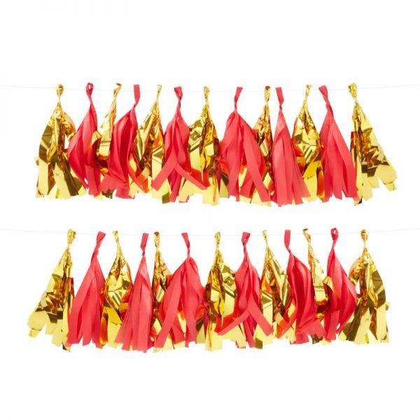 Tassel Girlande rot gold