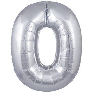 Zahlenballon 0 silber