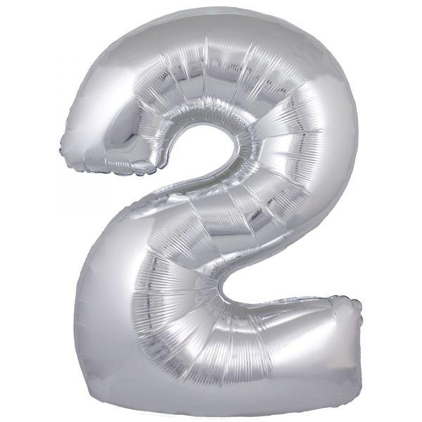 Zahlenballon 2 silber