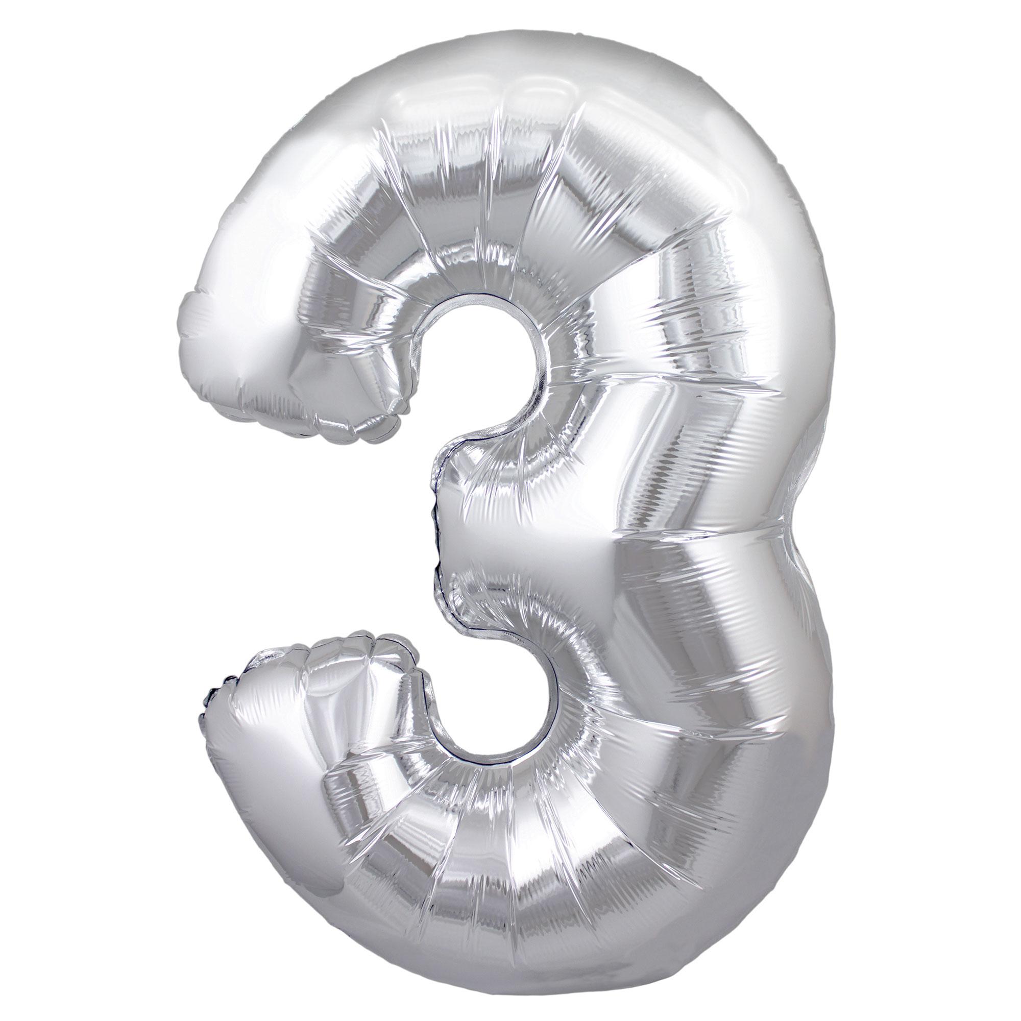 Zahlenballon 3 silber