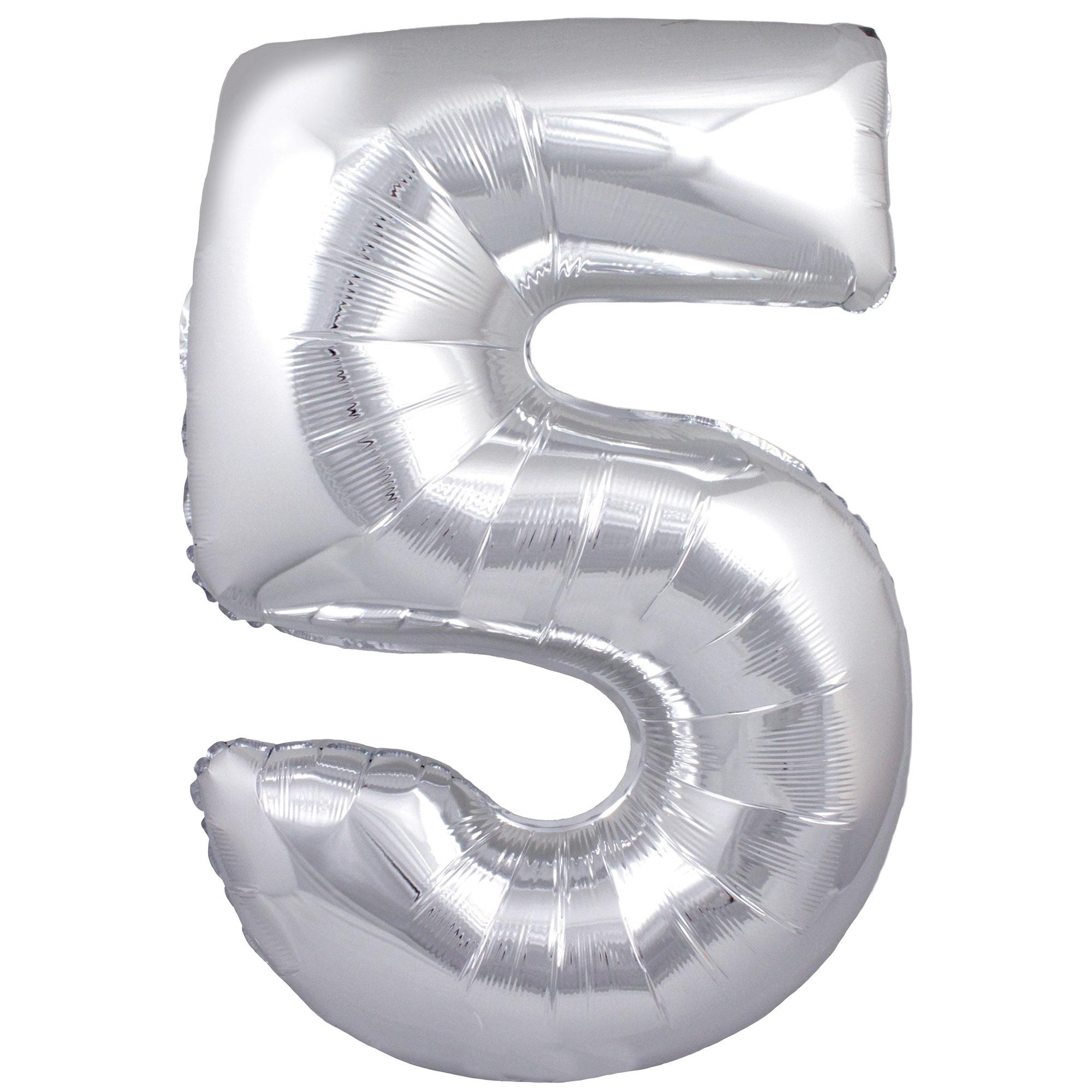 Zahlenballon 5 silber