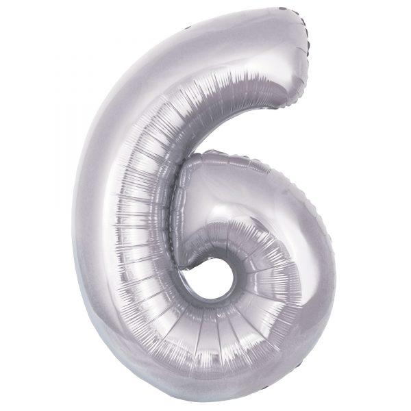 Zahlenballon 6 silber