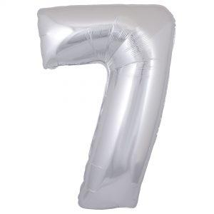 Zahlenballon 7 silber