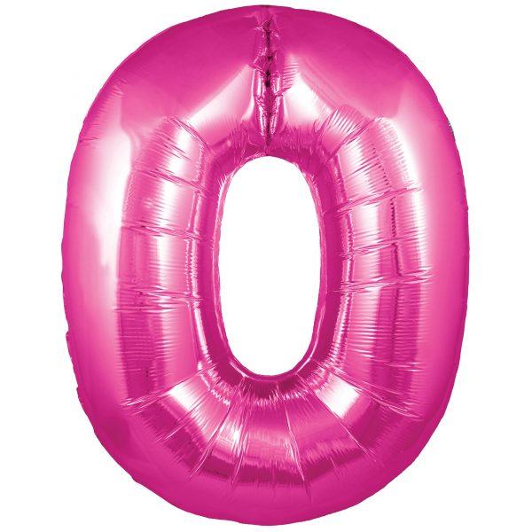 Zahlenballon 0 pink