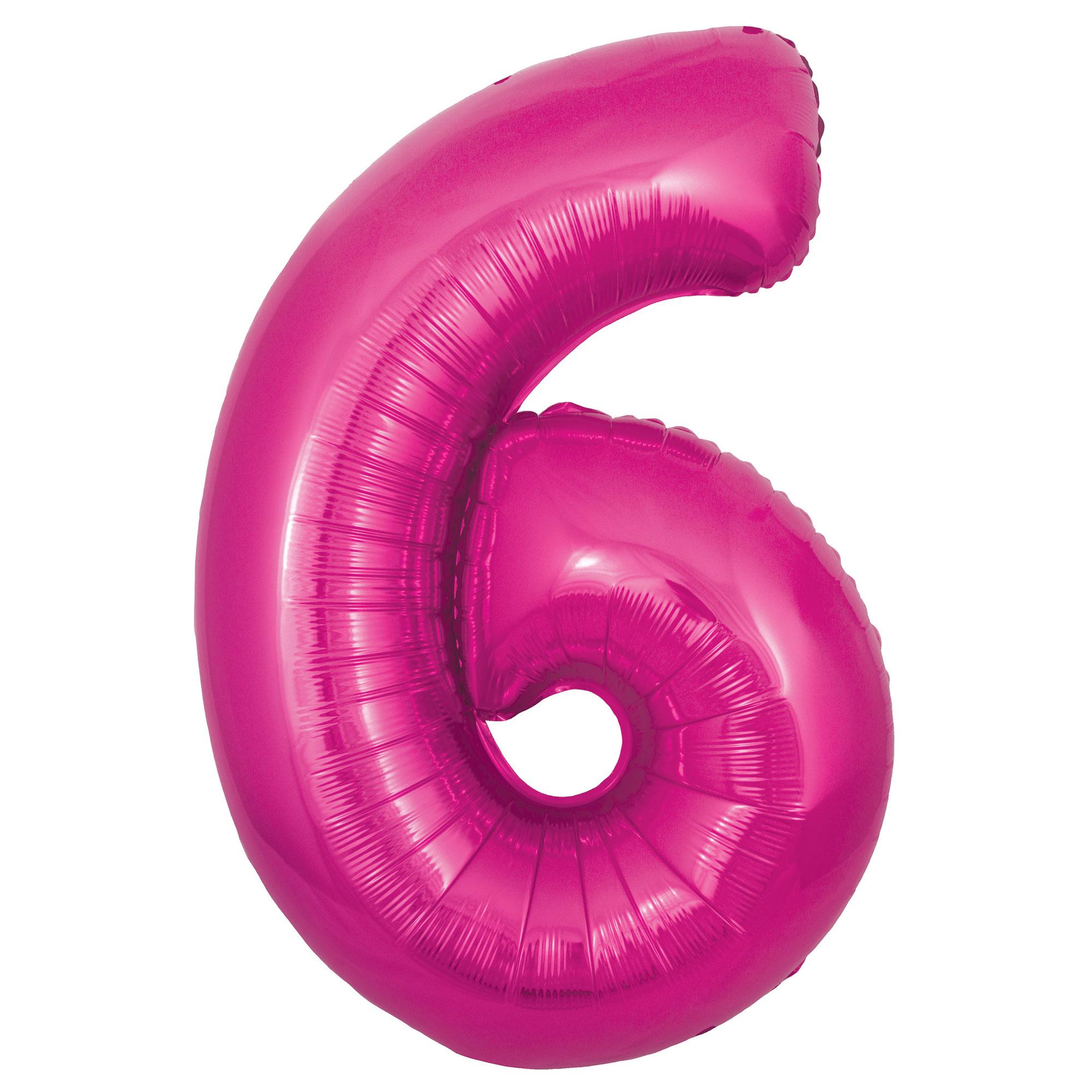 Zahlenballon 6 pink