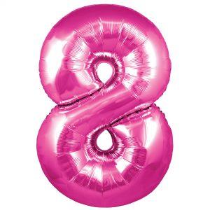 Zahlenballon 8 pink