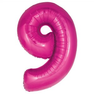 Zahlenballon 9 pink