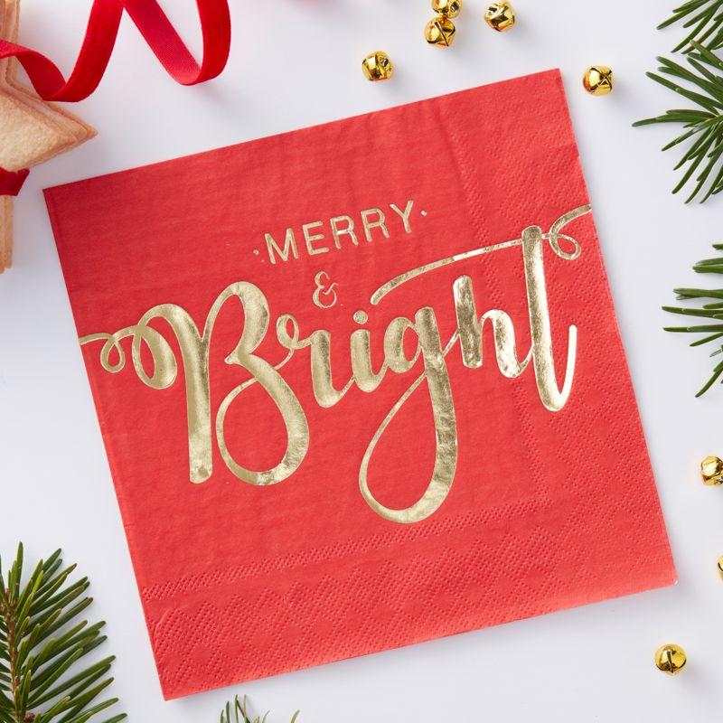 weihnachtsservietten klassisch rot gold merry bright partymoments. Black Bedroom Furniture Sets. Home Design Ideas