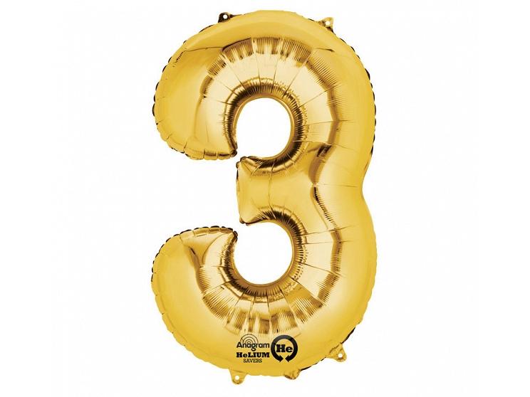 Zahlenballon 3 gold