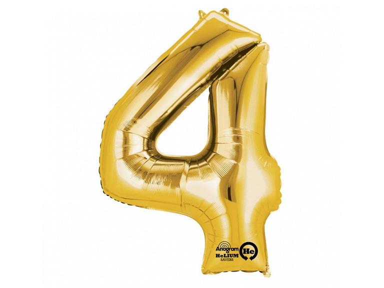Zahlenballon 4 gold