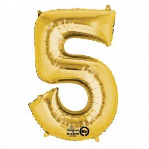 Zahlenballon 5 gold