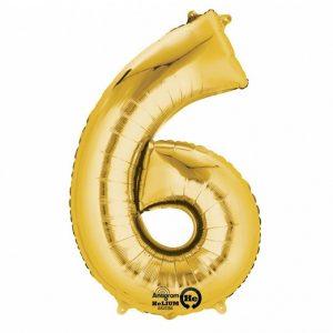 Zahlenballon 6 gold