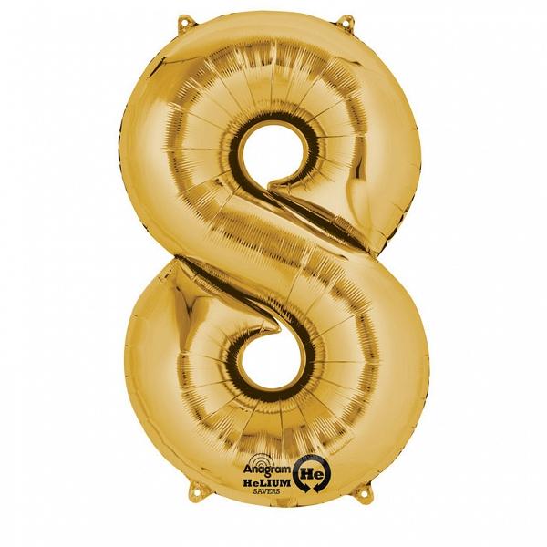 Zahlenballon 8 gold