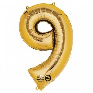 Zahlenballon 9 gold