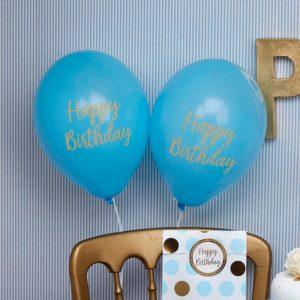 Ballons Happy Birthday blau