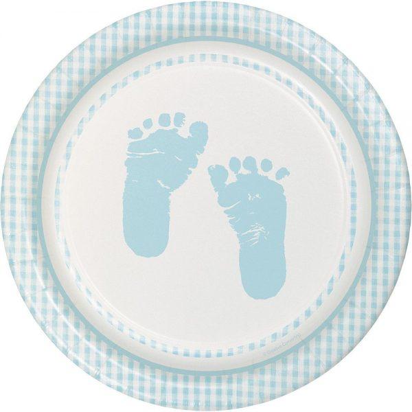 Babyfüsschen Teller hellblau