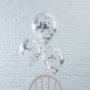 Konfetti Ballons silber