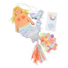 Meerjungfrau Pinata mit Konfetti und Tattoos