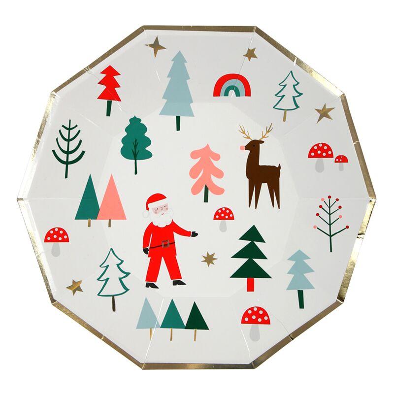 8-er Set Teller Weihnachten im Wald, Meri Meri - Partymoments