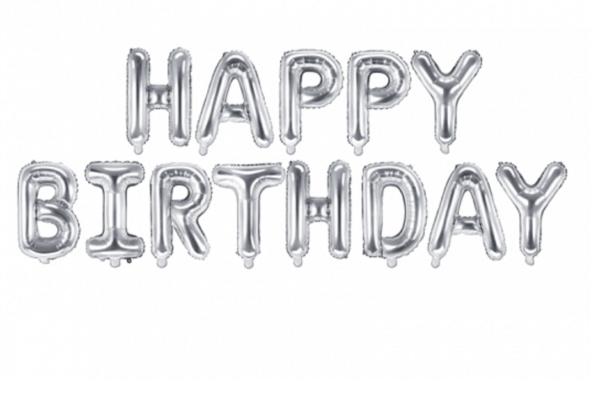 Happy Birthday silber